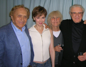 Zorba opening night. Backstage with Joseph Stein, Sheldon Harnick and Margery Gray.